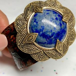 Studio Barse Lapis Bronze Leather Cuff Bracelet